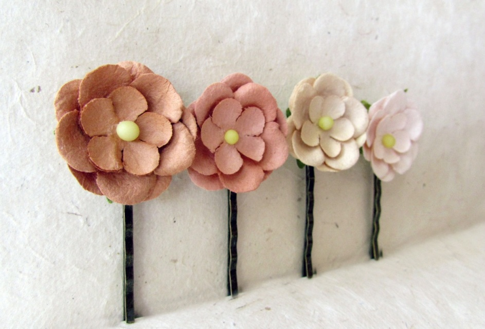 Blush Pink And Cream Paper Daisy Flower Bobby Pins