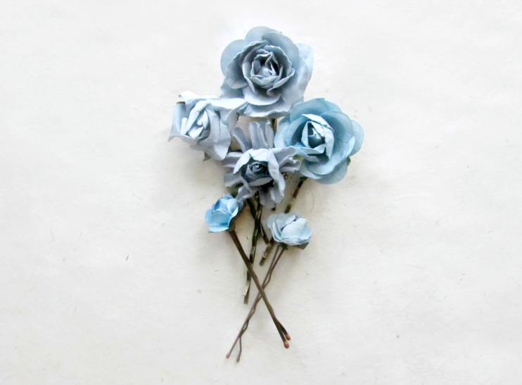 Dusty Blue Paper Hair Flowers