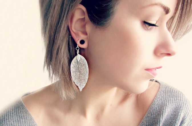 Sterling Silver Leaf Earrings by PiggleAndPop
