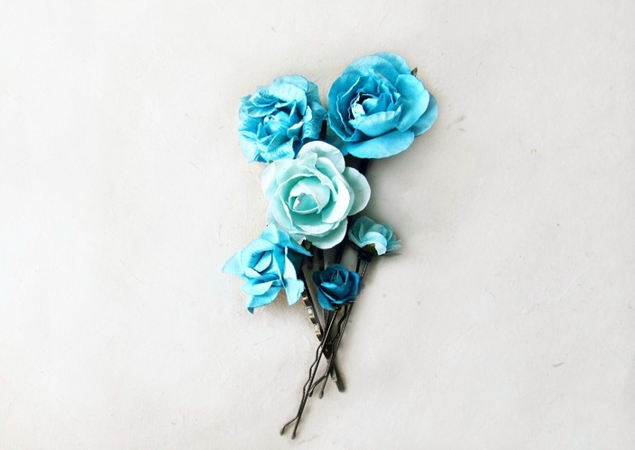 Malibu Blue Paper Flower Hair Pins