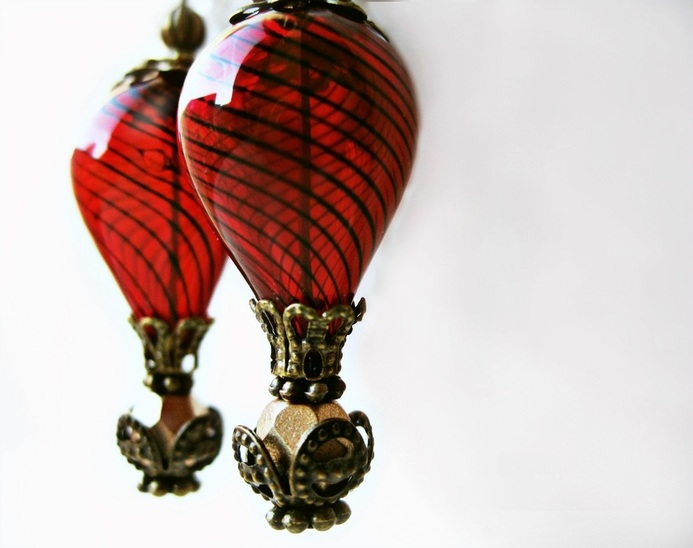 Red Hot Air Balloon Earrings