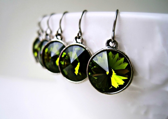 Olive Green Swarovski Drop Earrings