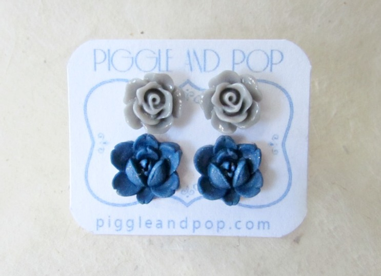Flower Stud Earrings Grey and Navy