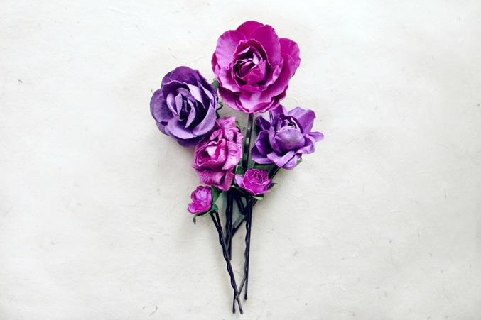 Purple Paper Hair Flowers by PiggleAndPop
