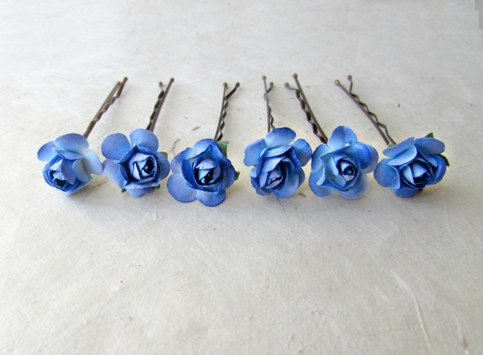 blue rose hair pins by Piggle And Pop