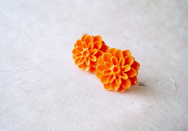 Orange Dahlia Post Earrings