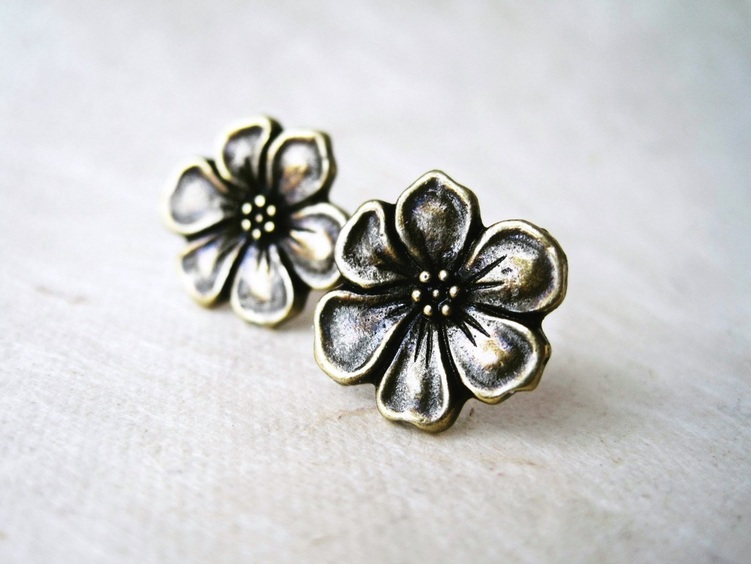 Bronze Apple Blossom Stud Earrings