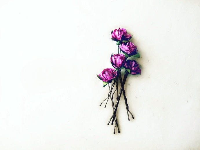 Orchid Rose Hair Pins from PiggleAndPop