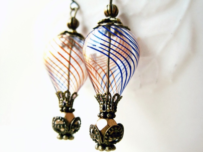 Steampunk Hot Air Balloon Earrings