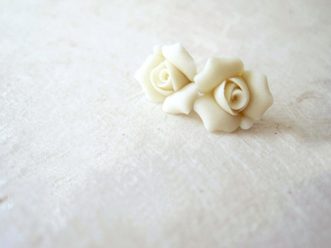 Ivory Porcelain Rose Stud Earrings by PiggleAndPop