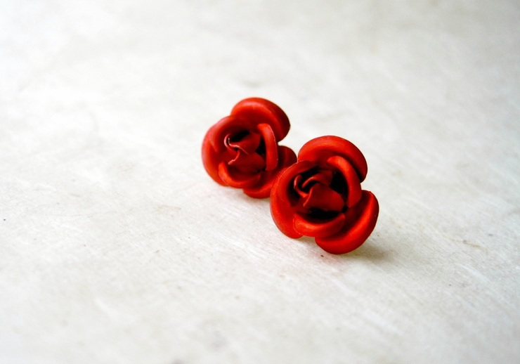 Red Metal Rose Earrings