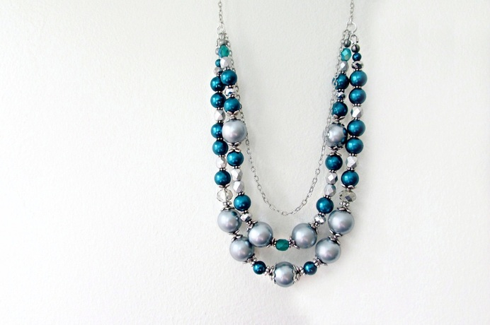 Teal and Silver Pearl Statement Necklace