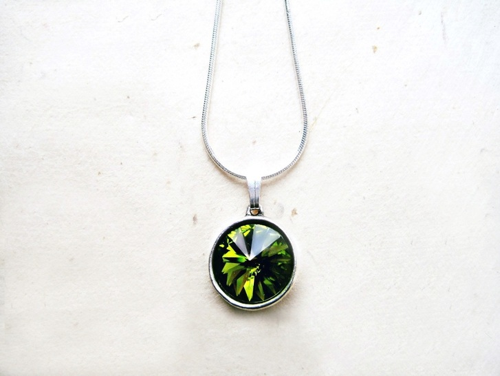 Olive Green Swarovski Drop Necklace