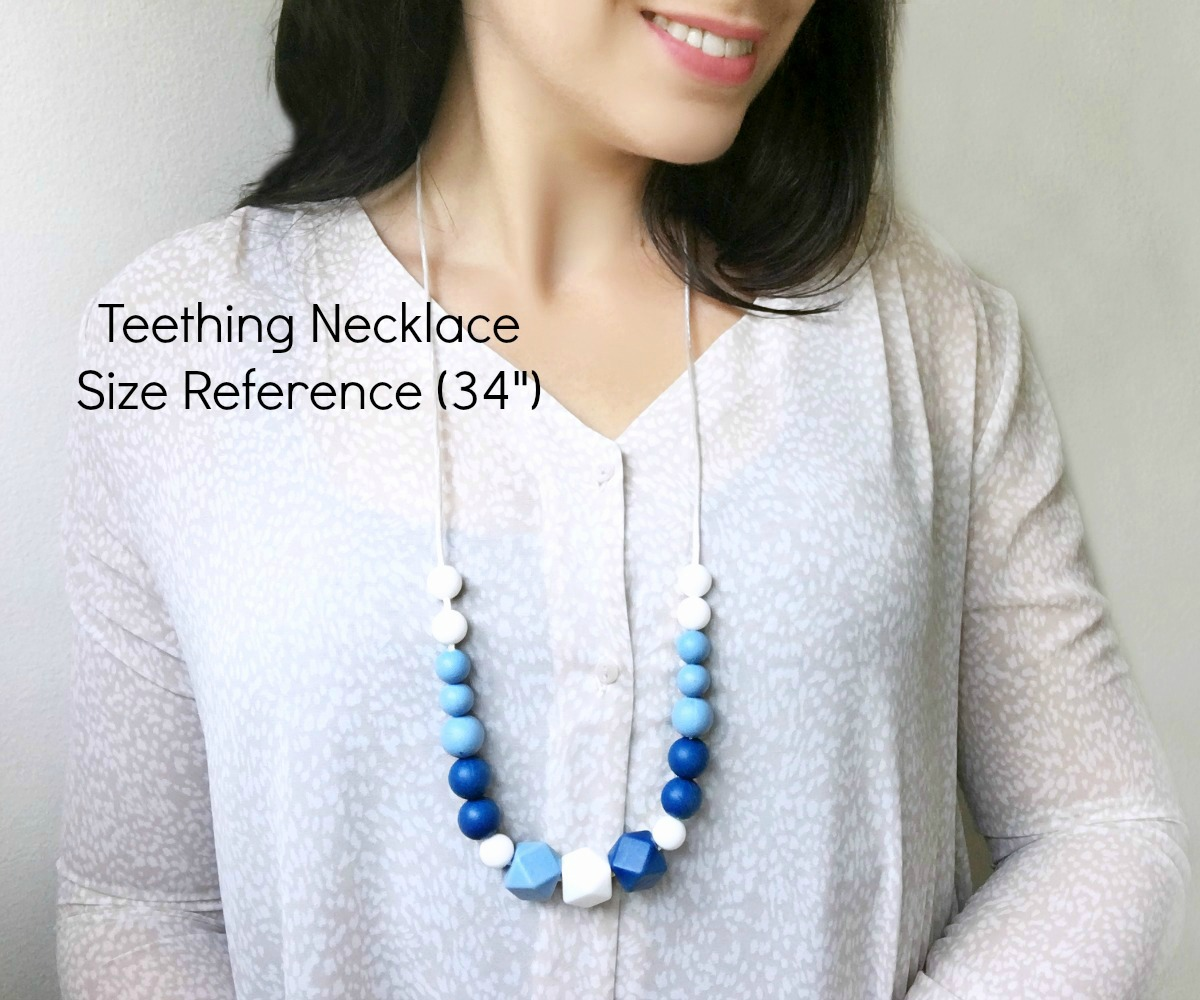 Blue Silicone and Maple Wood Nursing Necklace